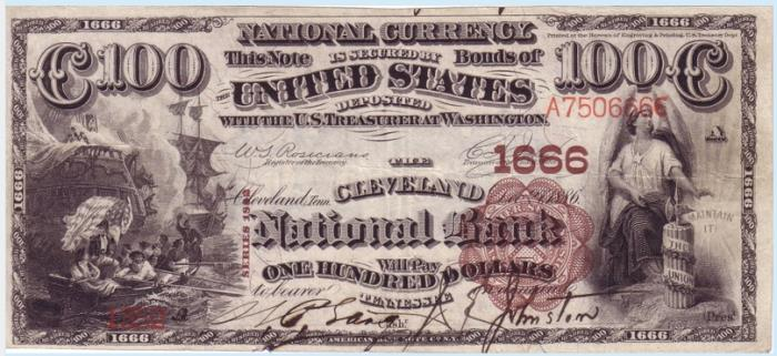 Cleveland National Bank, Cleveland National Currency dollar bill