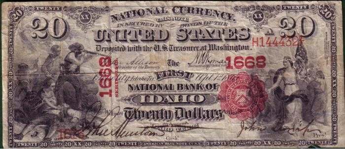 First National Bank of Idaho, Boise City National Currency dollar bill