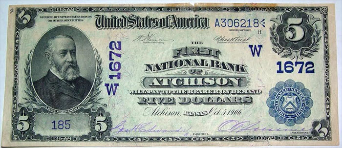First National Bank of Atchison National Currency dollar bill