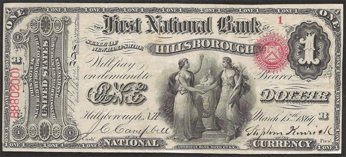 First National Bank of Hillsborough National Currency dollar bill
