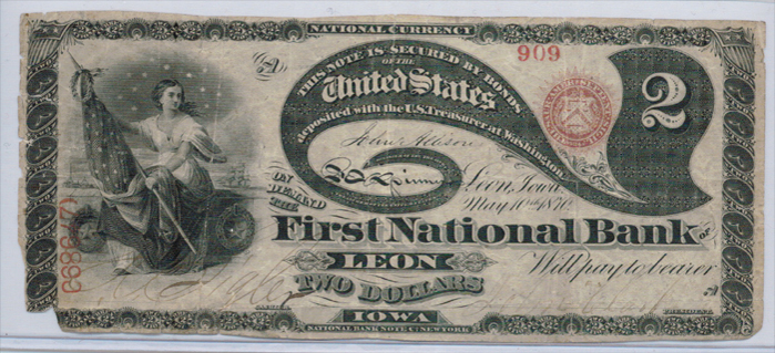 First National Bank of Leon National Currency dollar bill