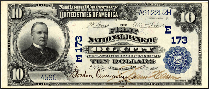 First National Bank of Oil City National Currency dollar bill