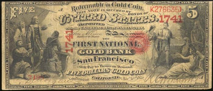 First National Bank of San Francisco (1741) Five Dollar Bill Series 1875