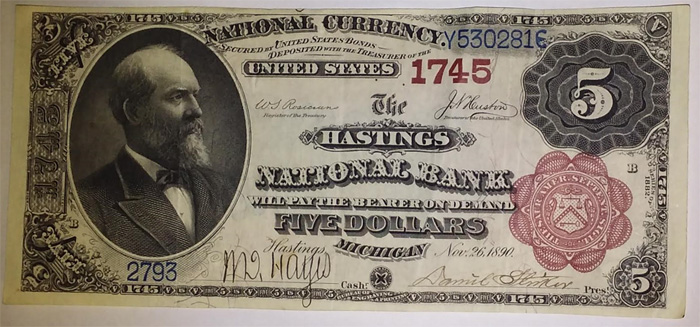 Hastings National Bank, Hastings National Currency dollar bill