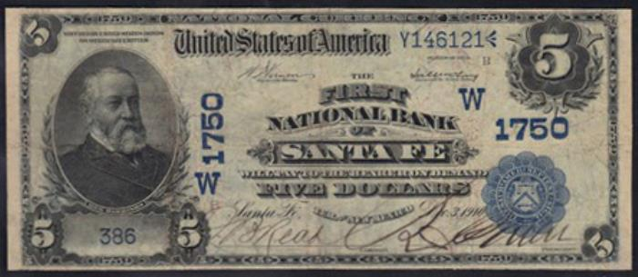 First National Bank of Santa Fe National Currency dollar bill