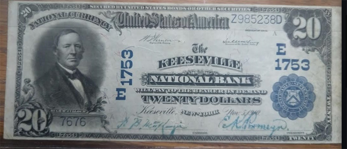 Keeseville National Bank, Keeseville National Currency dollar bill