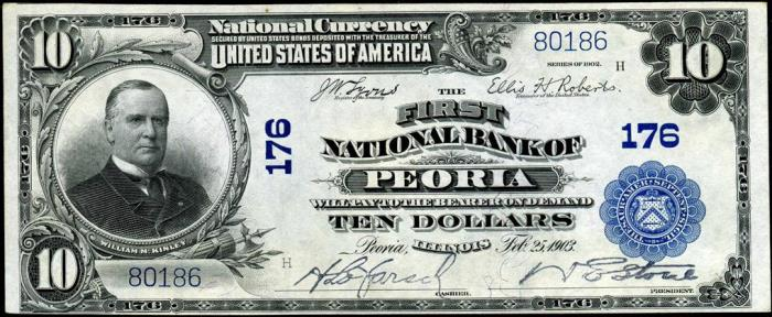 First National Bank of Peoria (176) Ten Dollar Bill Series 1902 Blue Seal