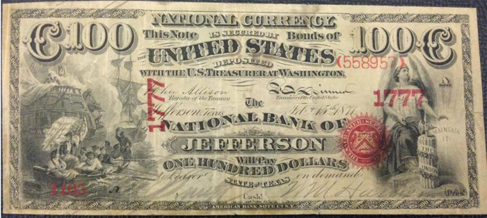 National Bank of Jefferson National Currency dollar bill