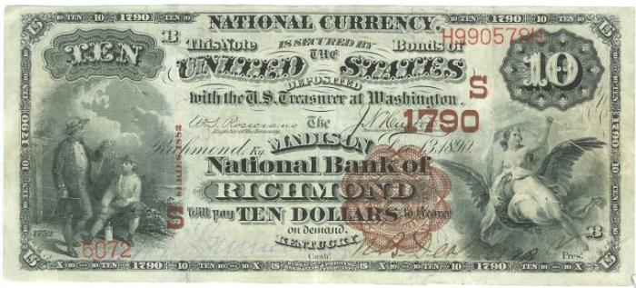 Madison National Bank of Richmond National Currency dollar bill