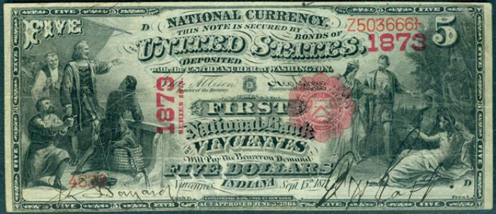 First National Bank of Vincennes National Currency dollar bill