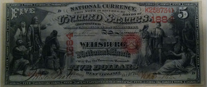 Wellsburg National Bank, Wellsburg National Currency dollar bill