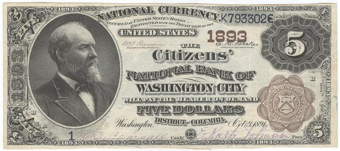 Citizens National Bank of Hagerstown National Currency dollar bill