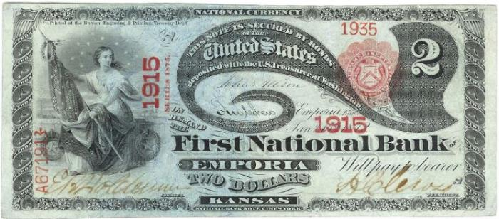 First National Bank of Emporia National Currency dollar bill
