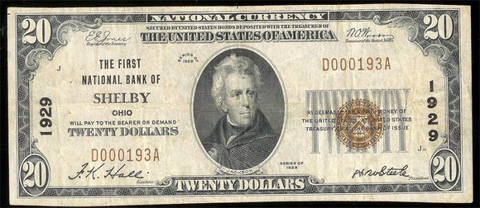 First National Bank of Shelby National Currency dollar bill
