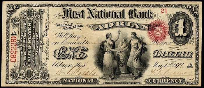 First National Bank of Adrian National Currency dollar bill