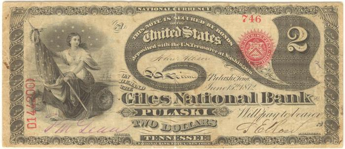 Giles National Bank of Pulaski National Currency dollar bill