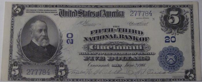 Third National Bank of Cincinnati National Currency dollar bill