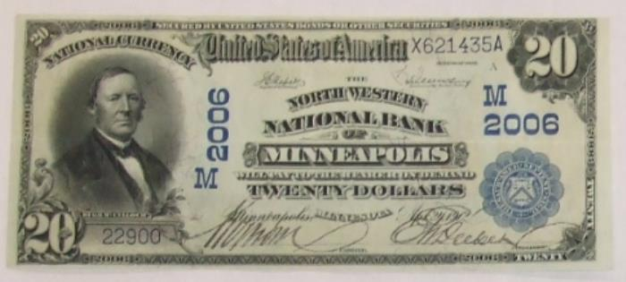 North Western National Bank of Minneapolis National Currency dollar bill