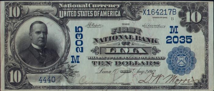 First National Bank of Lima National Currency dollar bill