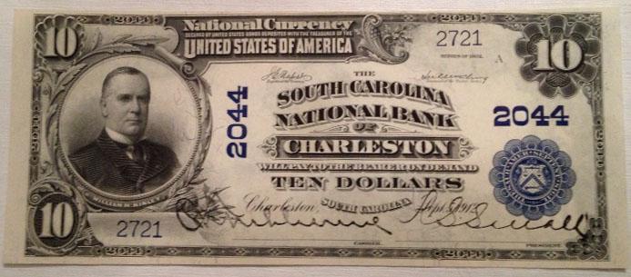 Bank of Charleston National Banking Assoc. Charleston National Currency dollar bill