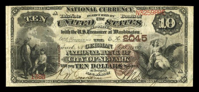 German National Bank of The City of Newark National Currency dollar bill
