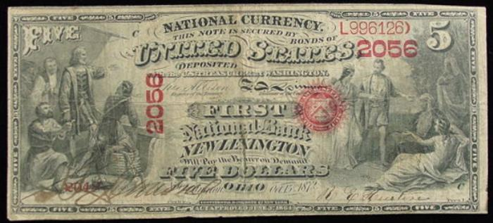 First National Bank of New Lexington National Currency dollar bill