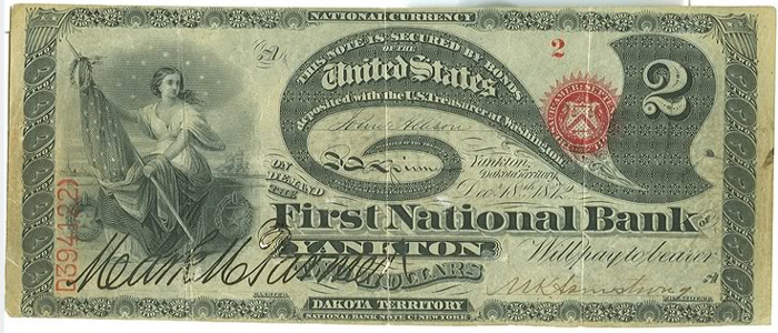 First National Bank of Yankton National Currency dollar bill