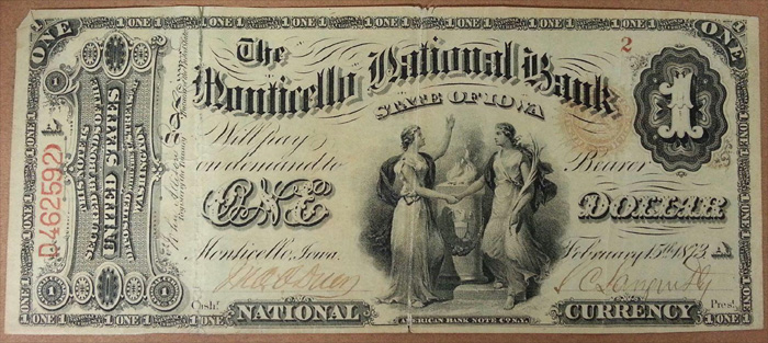 Monticello National Bank, Monticello National Currency dollar bill