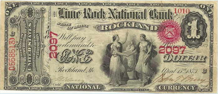 Lime Rock National Bank of Rockland National Currency dollar bill