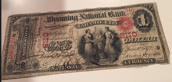 Wyoming National Bank of Laramie National Currency dollar bill