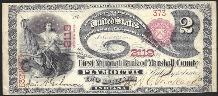 First National Bank of Marshall County at Plymouth National Currency dollar bill