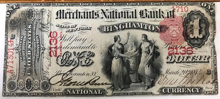 Merchants National Bank of Binghamton National Currency dollar bill