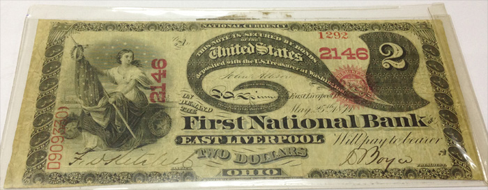 First National Bank of East Liverpool National Currency dollar bill