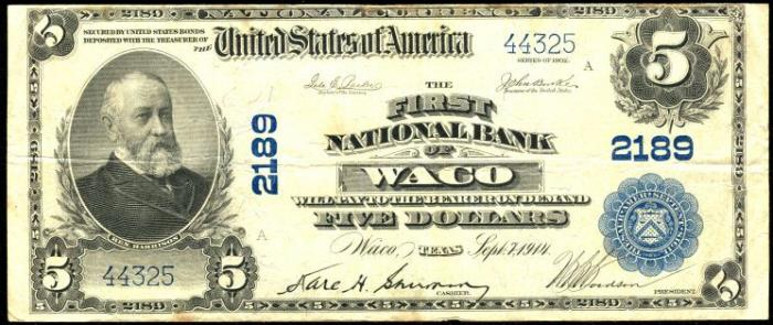 First National Bank of Waco (2189) Five Dollar Bill Series 1902 Blue Seal