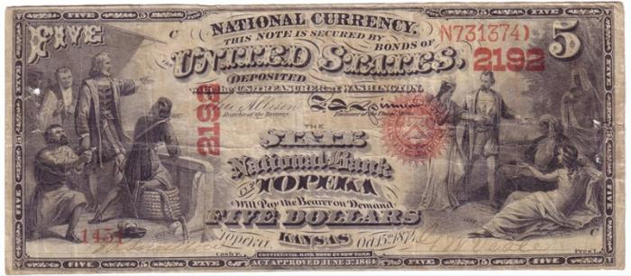 State National Bank of Topeka National Currency dollar bill
