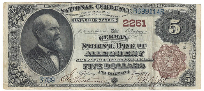 German National Bank of Allegheny National Currency dollar bill