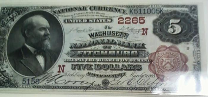 Wachusett National Bank of Fitchburg National Currency dollar bill
