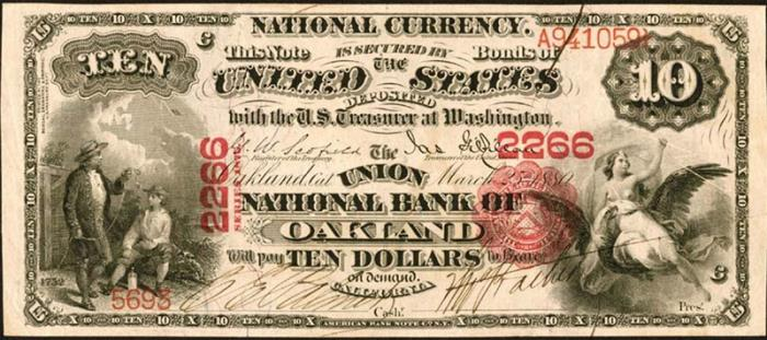 Union National Gold Bank of Oakland National Currency dollar bill
