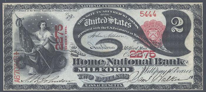 Home National Bank of Milford National Currency dollar bill