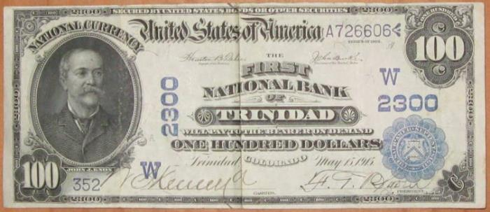 First National Bank of Trinidad (2300) Hundred Dollar Bill Series 1902 Blue Seal