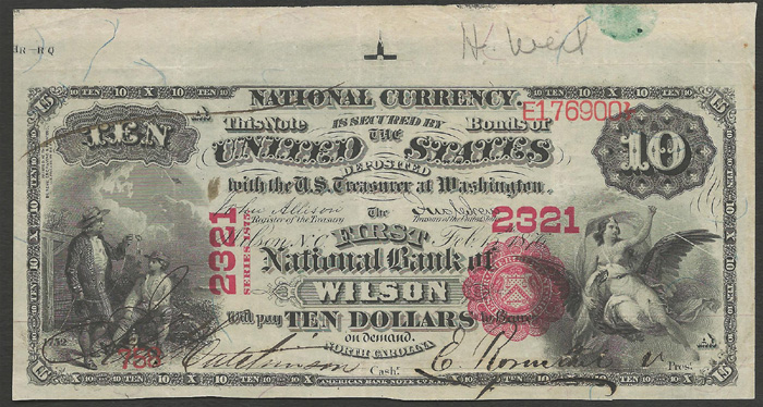 First National Bank of Wilson National Currency dollar bill