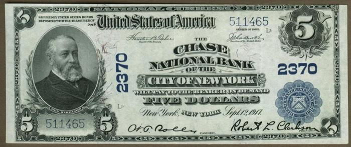 Chase National Bank of The City of NY National Currency dollar bill
