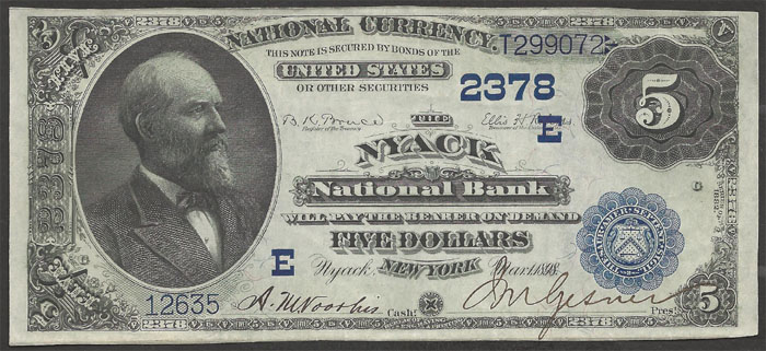 Nyack National Bank and Trust Company, Nyack National Currency dollar bill