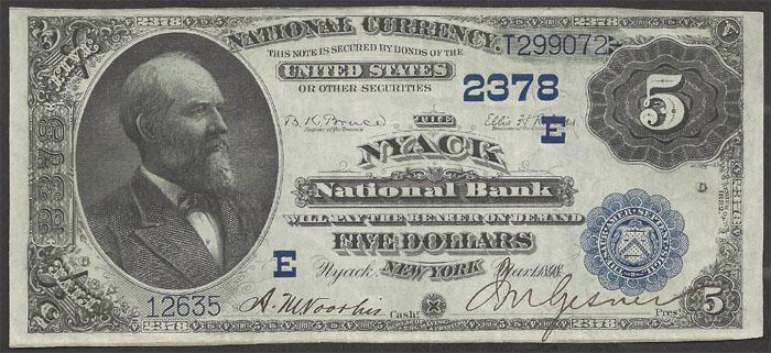 Nyack National Bank and Trust Company, Nyack (2378) Five Dollar Bill Series 1882 Dateback and Valueback