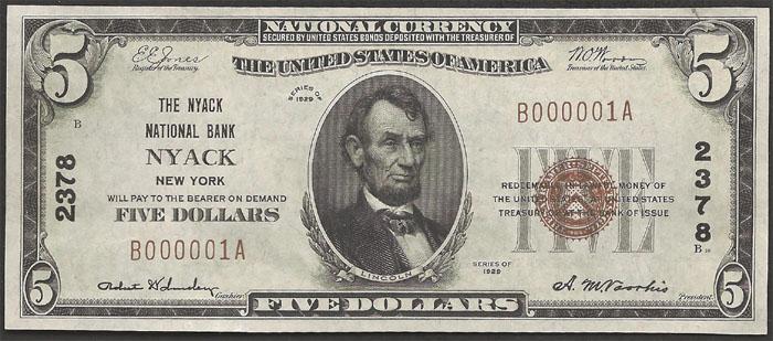 Nyack National Bank and Trust Company, Nyack (2378) Five Dollar Bill Series 1929