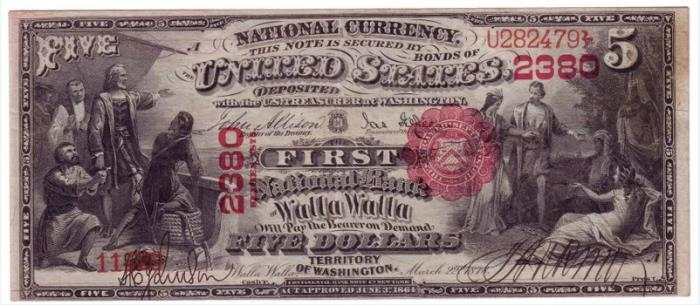 First National Bank of Walla Walla National Currency dollar bill