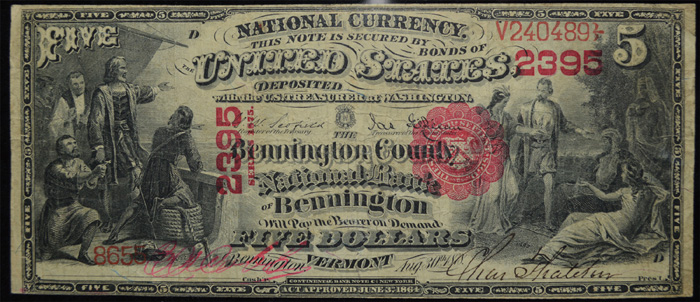 County National Bank of Bennington (2395) Five Dollar Bill Series 1875