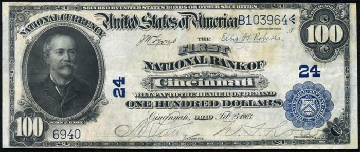 First National Bank of Cincinnati National Currency dollar bill