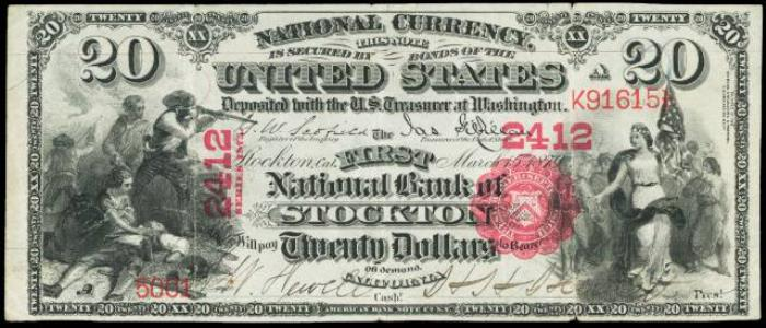 First National Bank of Stockton National Currency dollar bill