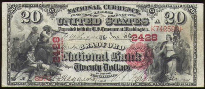 Bradford National Bank, Bradford National Currency dollar bill